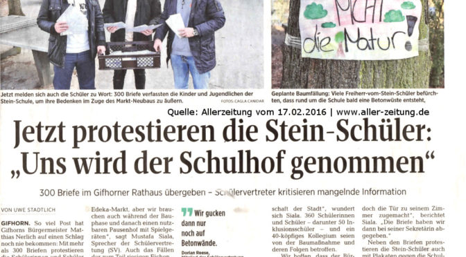 Pressebericht Allerzeitung: Der Bürgermeister erhält Post………..