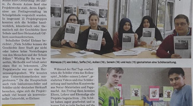 140 Jahre Steinschule: Presseecho der Allerzeitung & Gifhorner Rundschau