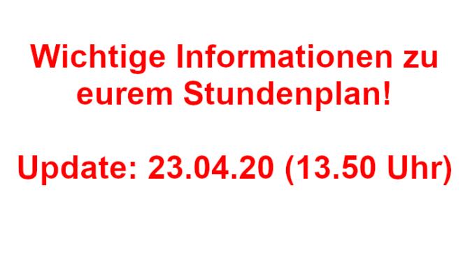 Stundenplan für die Zeit vom 11.05. – 15.05.2020